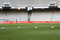 13th June 2020; Athens, Greece; Greek Super League football playoff, PanathinaikAthen versus PAOK Thessaloniki Panathinaikos; Empty stands due to the Covid-19 epidemic