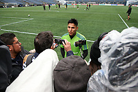 SEATTLE, WA - NOVEMBER 9: Raul Ruidiaz #9 of the Seattle Sounders FC talks to the media at CenturyLink Field on November 9, 2019 in Seattle, Washington.