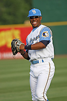 Myrtle Beach Pelicans outfielder L.V. Ware throwing in the outfield before a game vs. the Wilmington Blue Rocks at BB&T Coastal Field in Myrtle Beach, SC, on May 29, 2010. Photo By Robert Gurganus/Four Seam Images