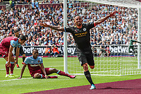 Gabriel Jesus of Manchester City celebrates after he scores the opening goal during the Premier League match between West Ham United and Manchester City at the London Stadium, London, England on 10 August 2019. Photo by David Horn.