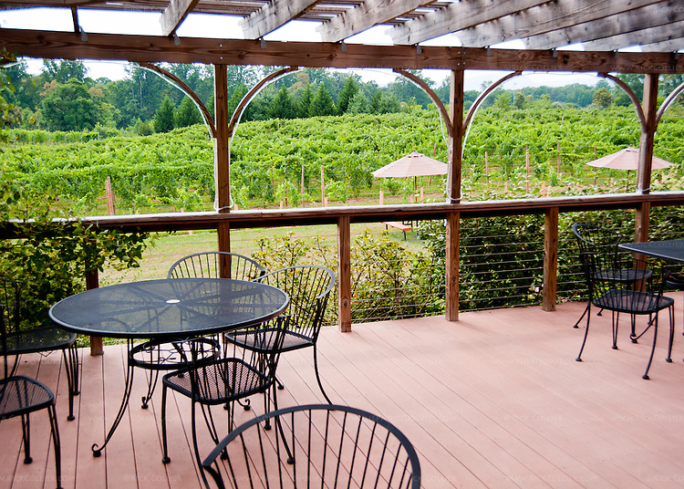 The outdoor deck just outside the tasting room at Gadino Cellars overlooks lawns, game courts, and vineyards.