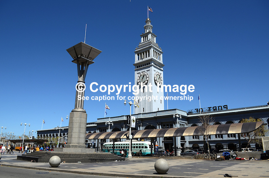 Ferry Building, San Francisco, California, USA, completed in 1898. On top of the building is a 245-foot tall clock tower, with four clock dials, each 22 feet in diameter, which can be seen from Market Street, a main thoroughfare of the city. 201304151457<br /> <br /> Copyright Image from Victor Patterson, 54 Dorchester Park, Belfast, UK, BT9 6RJ<br /> <br /> Tel: +44 28 9066 1296<br /> Mob: +44 7802 353836<br /> Voicemail +44 20 8816 7153<br /> Skype: victorpattersonbelfast<br /> Email: victorpatterson@me.com<br /> Email: victorpatterson@ireland.com (back-up)<br /> <br /> IMPORTANT: If you wish to use this image or any other of my images please go to www.victorpatterson.com and click on the Terms &amp; Conditions. Then contact me by email or phone with the reference number(s) of the image(s) concerned.