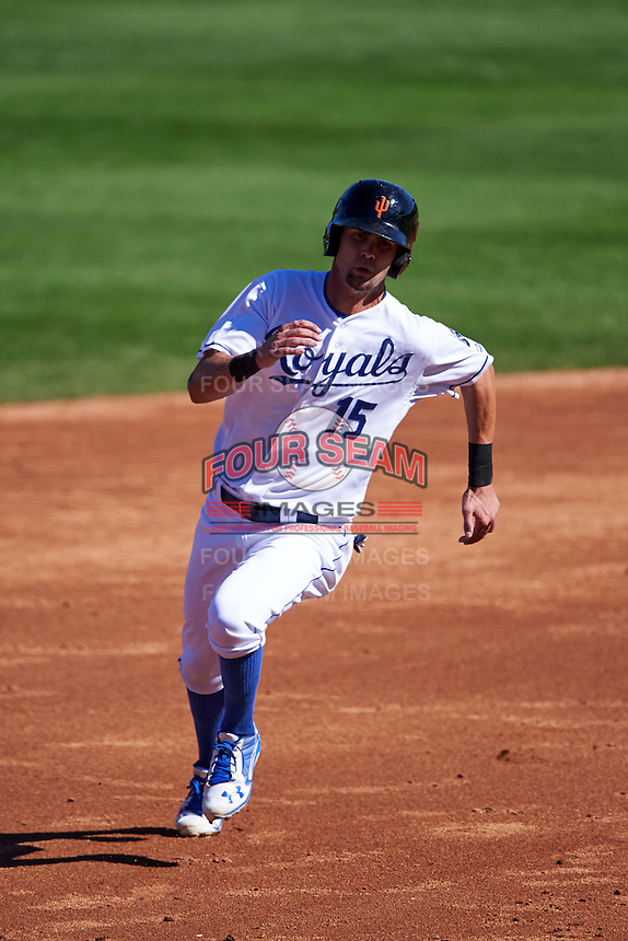 Surprise Saguaros outfielder Bubba Starling (15) running the bases during an Arizona Fall League game against the Glendale Desert Dogs on October 23, 2015 at Salt River Fields at Talking Stick in Scottsdale, Arizona.  Glendale defeated Surprise 9-6.  (Mike Janes/Four Seam Images)