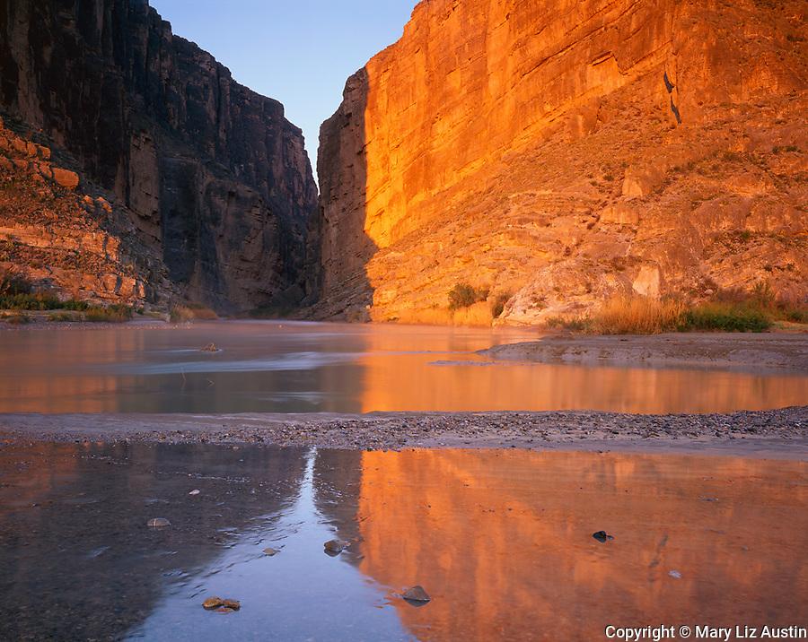 Big Bend National Park, TX <br /> Gold sunrise reflections on Santa Elenda Canyon and the Rio Grande River