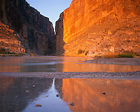Big Bend National Park, TX <br /> Gold sunrise reflections on Santa Elenda Canyon and the Rio Grande River