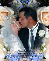 A Bride and Groom Kiss after making their wedding vows.  They are framed in a composit of  the bridal bouquet.