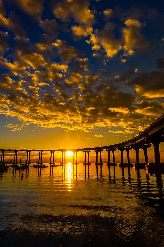 Coronado Bridge at sunrise, Coronado Island (San Diego), California USA.