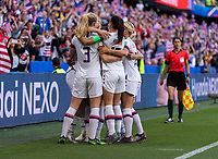 LE HAVRE,  - JUNE 20: Lindsey Horan #9 celebrates her goal with Sam Mewis #3 and Alex Morgan #13 during a game between Sweden and USWNT at Stade Oceane on June 20, 2019 in Le Havre, France.