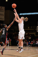 STANFORD, CA - NOVEMBER 26: Mikaela Ruef of Stanford women's basketball puts up a shot from beyond the 3-point line in a game against South Carolina on November 26, 2010 at Maples Pavilion in Stanford, California.  Stanford topped South Carolina, 70-32.