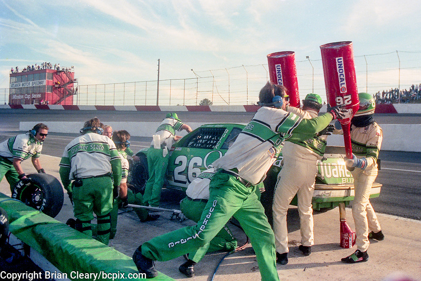 #26 Buick of Brett Bodine pit stop Atlanta Journal 500, Atlanta Motor Speedway, Hampton, GA, November 18, 1990. (Photo by Brian Cleary/bcpix.com)