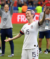20190707 - LYON , FRANCE : American Megan Rapinoe pictured celebrating the win during the female soccer game between The United States of America – USA-  and the Netherlands – Oranje Leeuwinnen -, the final  of the FIFA Women's  World Championship in France 2019, Sunday 7 th July 2019 at the Stade de Lyon  Stadium in Lyon  , France .  PHOTO SPORTPIX.BE | DAVID CATRY