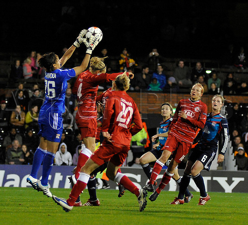 26.05.2011 Womens Champions League Final from Craven Cottage in London. FFC Turbine Potsdam v Olympique Lyonnais. Lyonnaise won 2-0. Lyonnaise Keeper Bouhaddi collects a cross