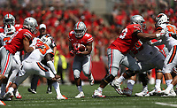 Ohio State Buckeyes running back J.K. Dobbins (2) looks for running room during the first half of a college football game between The Ohio State Buckeyes and the Oregon State Beavers held Saturday, September 1, 2018 at Ohio Stadium. [Fred Squillante/Dispatch]]