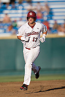South Carolina 1B Christian Walker trots around second after hitting a home run in Game 14 of the NCAA Division One Men's College World Series on June 26th, 2010 at Johnny Rosenblatt Stadium in Omaha, Nebraska.  (Photo by Andrew Woolley / Four Seam Images)