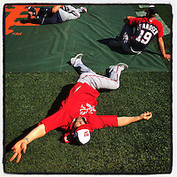SAN FRANCISCO, CA - OCTOBER 6: Instagram of Bryce Harper of the Washington Nationals stretching before Game 3 of the NLDS against the San Francisco Giants at AT&T Park on October 6, 2014 in San Francisco, California. Photo by Brad Mangin