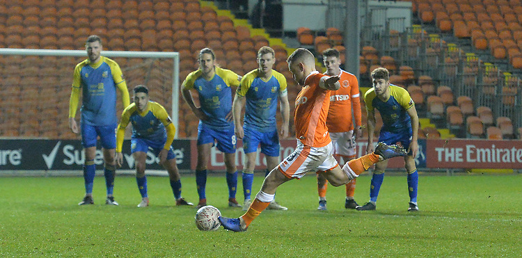 Blackpool's Jay Spearing scores from the penalty spot<br /> <br /> Photographer Dave Howarth/CameraSport<br /> <br /> The Emirates FA Cup Second Round Replay - Blackpool v Solihull Moors - Tuesday 18th December 2018 - Bloomfield Road - Blackpool<br />  <br /> World Copyright © 2018 CameraSport. All rights reserved. 43 Linden Ave. Countesthorpe. Leicester. England. LE8 5PG - Tel: +44 (0) 116 277 4147 - admin@camerasport.com - www.camerasport.com