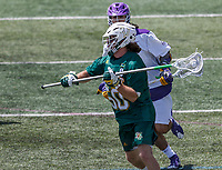 James Leary (#50) initiates a clear as UAlbany Lacrosse defeats Vermont 14-4  in the American East Conference Championship game at Casey Stadium, May 5.