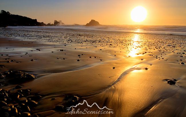 Oregon, North coast, Ecola State Park, Seaside.Golden sands and seastacks.