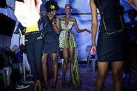 KIGALI, RWANDA NOVEMBER 7: Models wait backstage before the gala night at Kigali Fashion week on November 7, 2014 held at Kigali City Towers in Kigali, Rwanda. Designers and from Rwanda, Burundi and Uganda showed their latest collections at the yearly event. The event was held at a parking lot at a popular shopping mall in Kigali. (Photo by: Per-Anders Pettersson)
