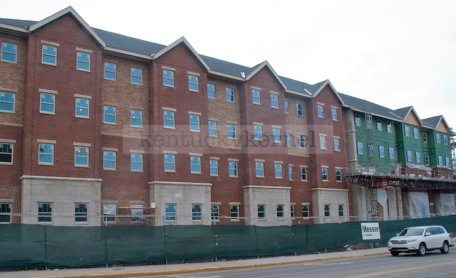 The outside of the new Central Hall dorm is taking shape as construction crews add brick and stone to the exterior of the dorm on March 20, 2013 in Lexington, Ky.