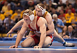 March 21 2009      Craig Brester (red, at left/front) from Nebraska battles Jake Varner (maroon) from Iowa State in the 197 pound weight class in the championship round of the NCAA Division I  Wrestling Championships which were held March 19 through March 21, 2009 at the Scottrade Center in downtown St. Louis, Missouri.  ..         *******EDITORIAL USE ONLY*******