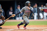 Lehigh Valley IronPigs outfielder Roman Quinn (2) follows through on his swing against the Toledo Mud Hens during the International League baseball game on April 30, 2017 at Fifth Third Field in Toledo, Ohio. Toledo defeated Lehigh Valley 6-4. (Andrew Woolley/Four Seam Images)
