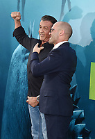 HOLLYWOOD, CA - AUGUST 06: Sylvester Stallone (L) and Jason Statham attend the premiere of Warner Bros. Pictures and Gravity Pictures' Premiere of 'The Meg' at the TLC Chinese Theatre on August 06, 2018 in Hollywood, California.<br /> CAP/ROT/TM<br /> &copy;TM/ROT/Capital Pictures