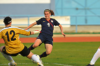 USA's Heather O'Reilly attempts to score vs. Iceland goalkeeper, Gudbjorg Gunnarsdottir.  The USWNT defeated Iceland (2-0) at Vila Real Sto. Antonio in their opener of the 2010 Algarve Cup on February 24, 2010.