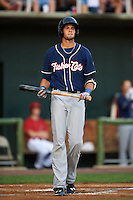 New Hampshire Fisher Cats third baseman Emilio Guerrero (13) at bat during a game against the Harrisburg Senators on July 21, 2015 at Metro Bank Park in Harrisburg, Pennsylvania.  New Hampshire defeated Harrisburg 7-1.  (Mike Janes/Four Seam Images)