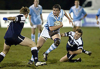 Cambridge University / Oxford University..24th PCubed Student Rugby League Varsity Match..Richmond Athletic Ground, March 3, 2004..Pic : Max Flego ..Andrei Bettinson sets up an attack for Cambridge..