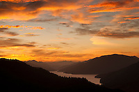 Spectacular sunset over Kenepuru Sounds - Marlborough Sounds, New Zealand