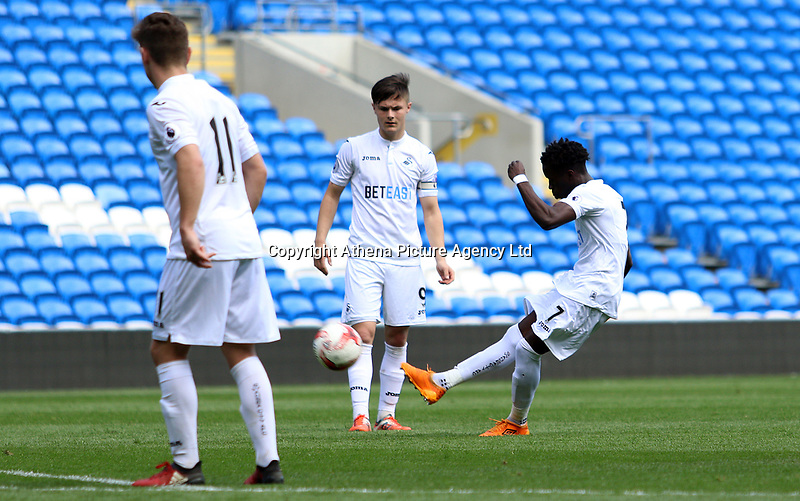 Causso Darame of Swansea City takes a free kick  during the FAW Youth Cup match between Swansea City and Cambrian and Clydach at The Cardiff City Stadium, Cardiff, Wales, UK. Sunday 23 April 2017