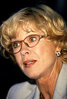 Montreal (Qc) CANADA -  August 27 1999 File Photo -<br /> <br /> Bibi Andersson press conference as Jury President of the 1999 World Film Festival.<br /> <br /> Birgitta &quot;Bibi&quot; Andersson (born 11 November 1935) is a Swedish actress.<br /> <br /> Andersson was born in Kungsholmen, Stockholm, the daughter of Karin (n&eacute;e Mansion), a social worker, and Josef Andersson, a businessman.[2][3][4] She studied acting at the Terserus Drama School and at the legendary Royal Dramatic Theatre School in Stockholm. After completing school, she agreed to join the Royal Dramatic Theatre in Stockholm, which she remained a member of for 30 years. Her first collaboration with Ingmar Bergman was in 1951, when she participated in his production of an advertisement for the detergent &quot;Bris&quot;. At the end of the 1950s she starred in three Bergman pictures: The Seventh Seal, Wild Strawberries, and Brink of Life.<br /> <br /> Her intense portrayal of the nurse Alma in the 1966 film Persona led to an increase in the number of cinematic roles offered her, and she appeared that same year opposite James Garner and Sidney Poitier in the violent western Duel at Diablo. More Bergman collaborations followed, as well as working with John Huston (The Kremlin Letter: 1970) and Robert Altman (Quintet: 1979). She made her debut in American theatre in 1973 with a production of Erich Maria Remarque's &quot;Full Circle&quot;. In 1990 she worked as a theatre director in Stockholm. In the late 1980s and early 1990s Andersson worked primarily in television and as a theatre actress, working with Bergman among others. She was also a supervisor for the humanitarian project Road to Sarajevo.<br /> <br /> In 1996, she published her autobiography Ett &ouml;gonblick (&quot;A Moment&quot;, or, literally, &quot;A Blink of the Eye&quot;). She has been married (1960, divorced) to the director Kjell Grede with whom she has a daughter, Jenny, and, secondly (1978, divorced), to the politician and writer Per Ahlmark. Since 29 May 2004, Andersson has been married to Gabriel Mora Baeza.