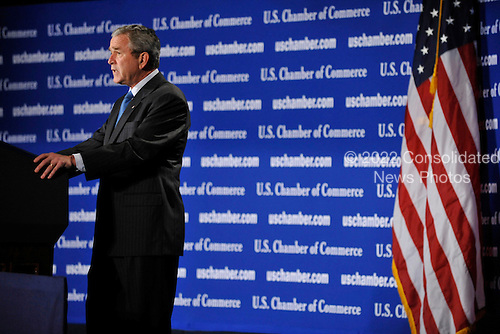 United States President George W. Bush makes remarks at the U.S. Chamber of Commerce in Washington, D.C. on October 17, 2008.<br /> Credit: Pool via CNP
