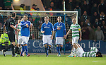 St Johnstone v Celtic.....26.12.13   SPFL<br /> Sanil Jahic gestures about Georgios Samaras diving<br /> Picture by Graeme Hart.<br /> Copyright Perthshire Picture Agency<br /> Tel: 01738 623350  Mobile: 07990 594431