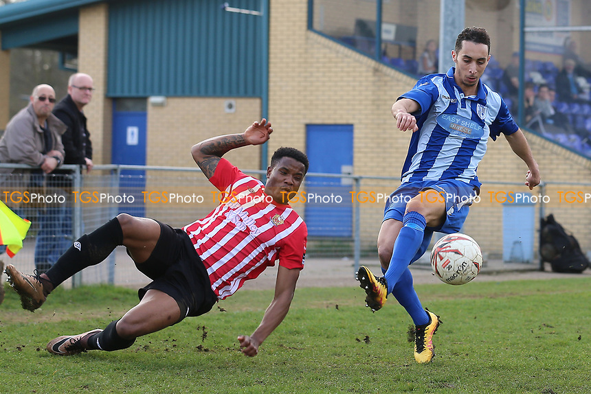Alah Oudji of Ware and Abs Thompson of Hornchurch during Ware vs AFC Hornchurch, Ryman League Division 1 North Football at Wodson Park on 11th March 2017