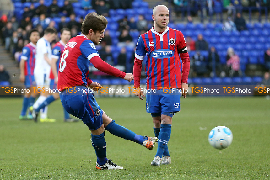 Frankie Raymond of Dagenham tries his luck with a free kick during Tranmere Rovers vs Dagenham & Redbridge, Vanarama National League Football at Prenton Park on 28th January 2017