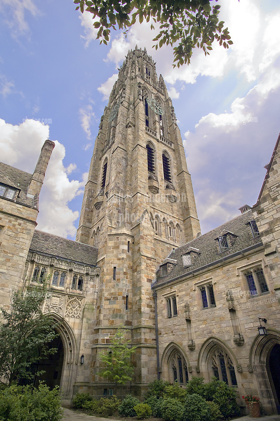 Yale University Campus, Harkness Tower viewed from within the Branford College Quad in Early Spring. Photo Credit: James R Anderson