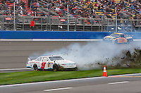 Feb. 21, 2010, Auto Club Speedway, CA: Kasey Kahne tears through the infield during the Sprint Cup Race in Fontana, CA.