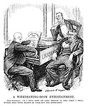 "A Withdrawing-room Entertainment. Herr Stresemann. ""If I only keep on long enough at this piece I shall either melt their hearts or wear out the instrument."" (cartoon showing a less than amused Aristide Briand and Austen Chamberlain listening as Germany's Gustav Stresemann plays The Watch On The Rhine on the Locarno piano during the InterWar era)"