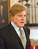 Actor, director, producer, businessman, and environmentalist Robert Redford arrives to accept Presidential Medal of Freedom, the Nation's highest civilian honor, from United States President Barack Obama in the East Room of the White House in Washington, DC on November 22, 2016.<br /> Credit: Ron Sachs / CNP