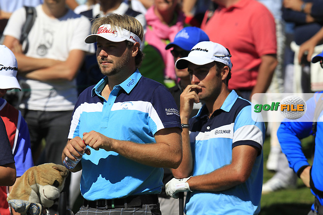Victor DUBUISSON (FRA) and Edoardo Molinari (ITA) on the 14th tee during Saturday's Round 3 of the 2014 Omega European Masters held at the Crans Montana Golf Club, Crans-sur-Sierre, Switzerland.: Picture Eoin Clarke, www.golffile.ie: 6th September 2014