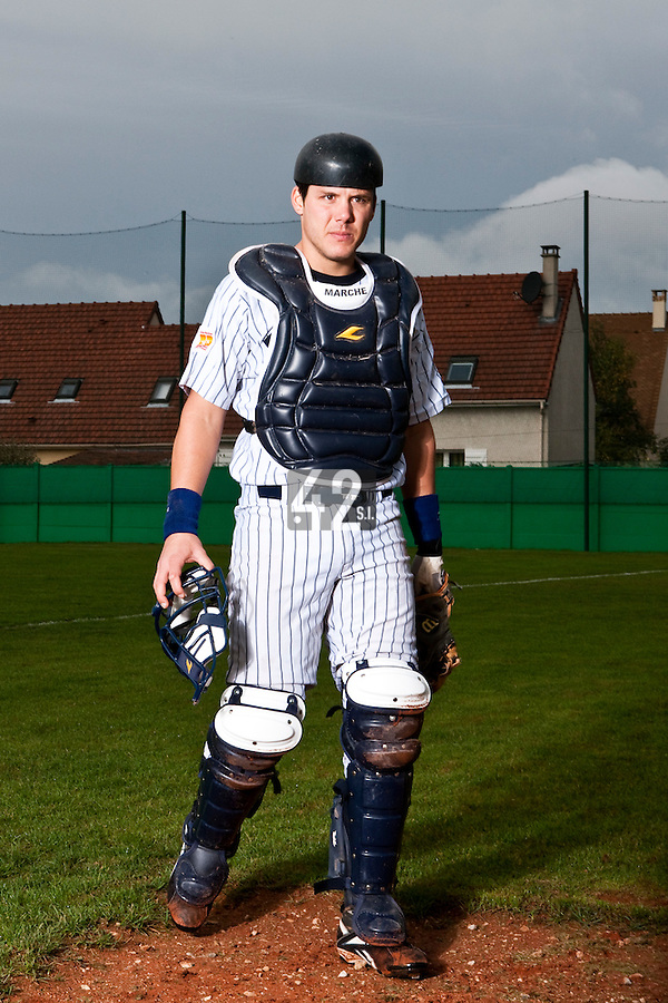 10 october 2009: Boris Marche of Rouen is seen prior to game 4 of the 2009 French Elite Finals won 7-2 by Huskies of Rouen over Lions of Savigny, at Stade Jean Moulin stadium in Savigny sur Orge, near Paris, France. Rouen wins the 2009 France championship, his sixth title.