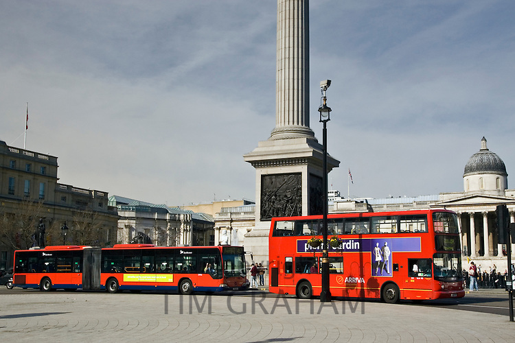 Public transport buses driving on bus routes in Trafalgar Square, London city centre, England, United Kingdom