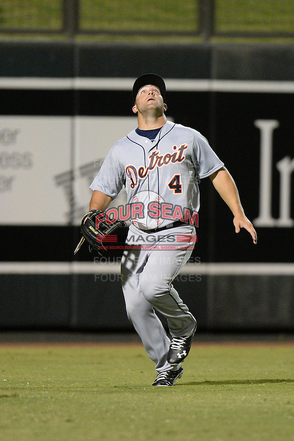 Mesa Solar Sox outfielder Tyler Collins (4), of the Detroit Tigers organization, during an Arizona Fall League game against the Salt River Rafters on October 10, 2013 at Salt River Fields at Talking Stick in Scottsdale, Arizona.  Mesa defeated Salt River 8-1.  (Mike Janes/Four Seam Images)