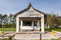 Old abandoned auto repair shop in Delta, IA