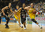 14.04.2018, EWE Arena, Oldenburg, GER, BBL, EWE Baskets Oldenburg vs s.Oliver W&uuml;rzburg, im Bild<br /> <br /> Karsten TADDA (EWE Baskets Oldenburg #9)<br /> Kameron TAYLOR (s.Oliver W&uuml;rzburg #7 )<br /> Foto &copy; nordphoto / Rojahn