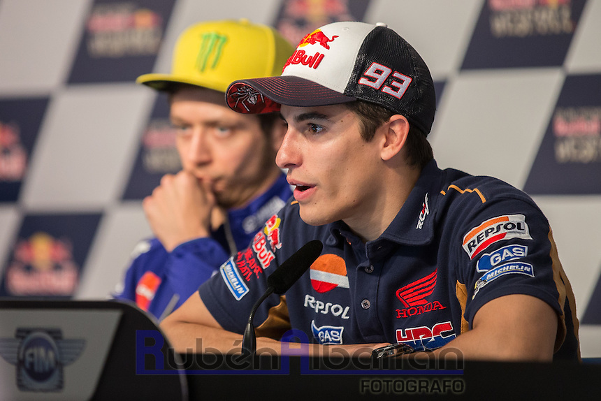 Marc Marquez during qualifying press conference in Motorcycle Championship GP, in Jerez, Spain. April 23, 2016
