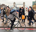 Pic shows: He's going one way but are the general public going the opposite direction.<br /> <br /> Boris Johnson crossing London Bridge with Tower Bridge in the background today on his way to City Hall to deliver his last budget.<br /> 22.2.16<br /> He announced his support for the Brexit campaign last night.<br /> <br /> <br /> <br /> <br /> Pic by Gavin Rodgers/Pixel 8000 Ltd
