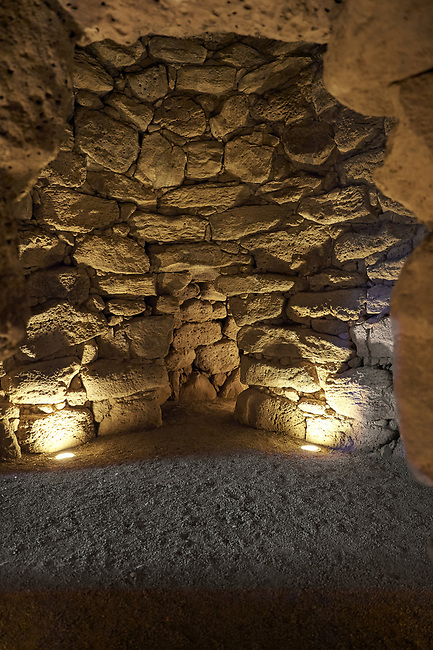 Picture and image of the prehistoric tholos shaped interior of Nuraghe Losa, archaeological site, Bronze age (14 -9 th century BC), Abbasanta, Southern Sardinia..
